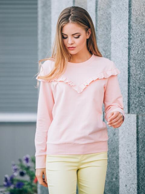 Свитшот с фигурной рюшей розовый - 23906, фото 1 – интернет-магазин Dressa