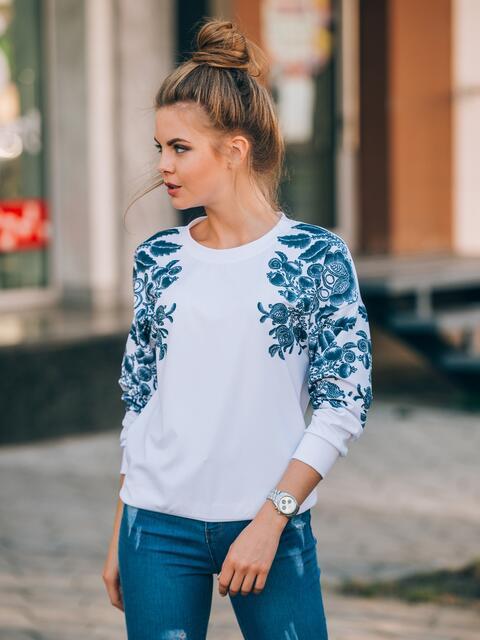 Свитшот в стиле casual с цветочным принтом - 13130, фото 1 – интернет-магазин Dressa