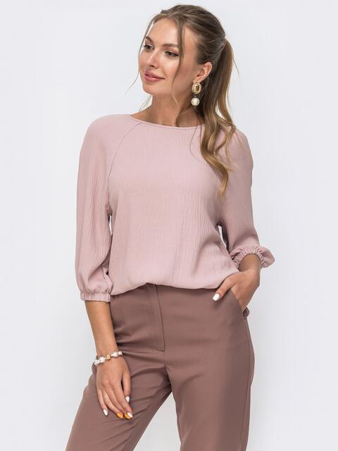 Свободная блузка с рукавом-реглан розовая 49646, фото 1