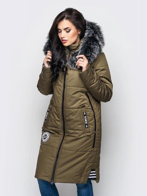 Зимняя куртка цвета хаки с мехом на капюшоне 15200, фото 1