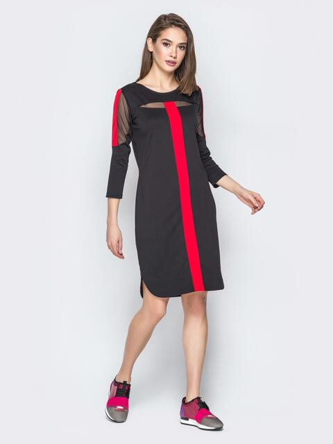 Чёрное платье с контрастными вставками - 19721, фото 1 – интернет-магазин Dressa