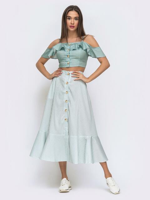 Голубой комплект с юбкой в узкую полосу - 48294, фото 1 – интернет-магазин Dressa