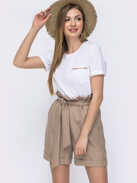 Комплект с шортами с высокой посадкой бежевый - 46623, фото 1 – интернет-магазин Dressa