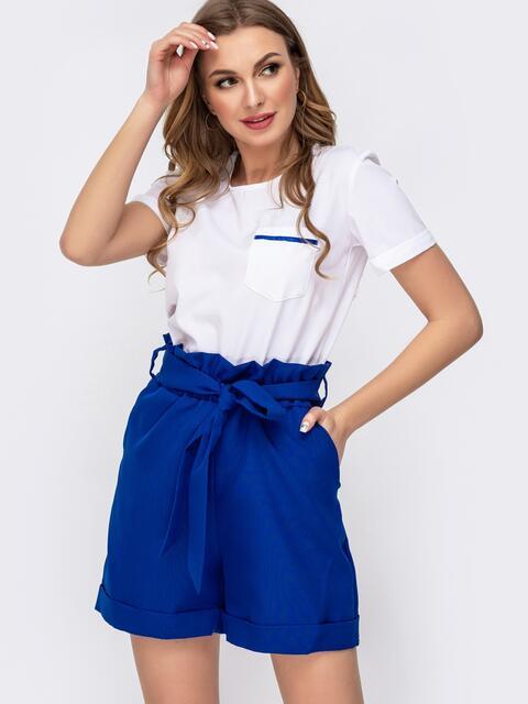 Комплект с шортами с высокой посадкой синий - 46624, фото 1 – интернет-магазин Dressa