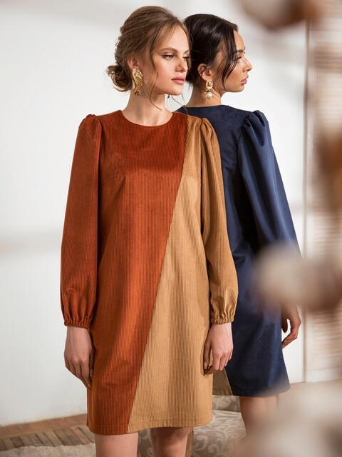 Коричневое платье прямого кроя из вельвета 44208, фото 1
