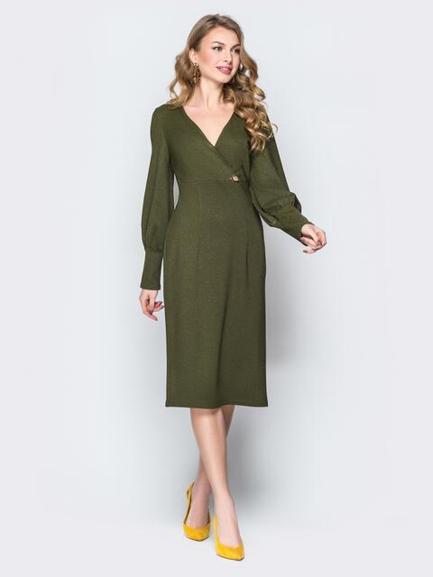 Платье цвета хаки с V-вырезом и широкими манжетами - 19730, фото 1 – интернет-магазин Dressa