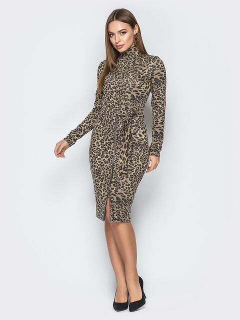 Платье-гольф с леопардым принтом и функциональной молнией - 19184, фото 1 – интернет-магазин Dressa