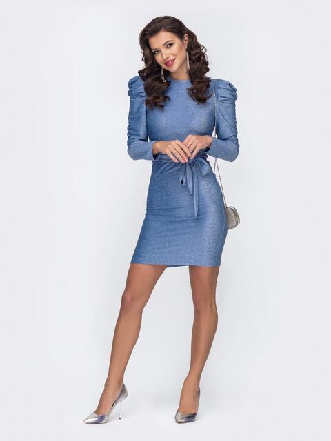 Платье-миди с люрексом и буфами на рукавах голубое 51974, фото 1