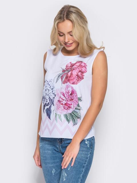 Принтованная блузка из софта - 10255, фото 1 – интернет-магазин Dressa