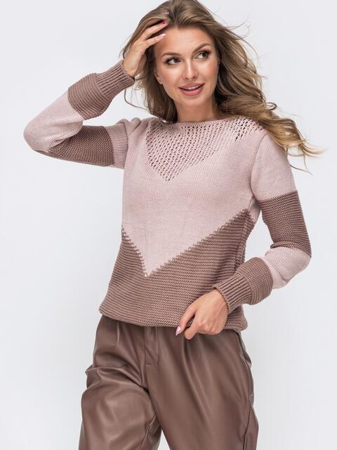 Пудровый вязаный свитер с перфорацией 50423, фото 1