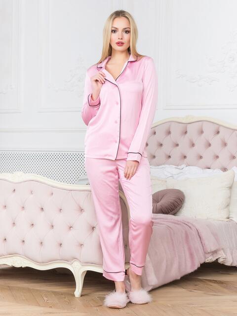 Розовая пижама с окантовкой на рубашке и брюках - 18938, фото 1 – интернет-магазин Dressa