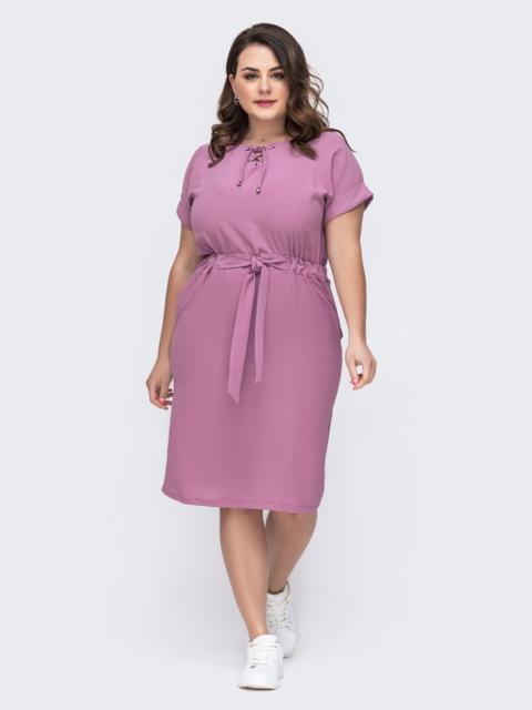 Розовое платье батал с кулиской по талии 46252, фото 1