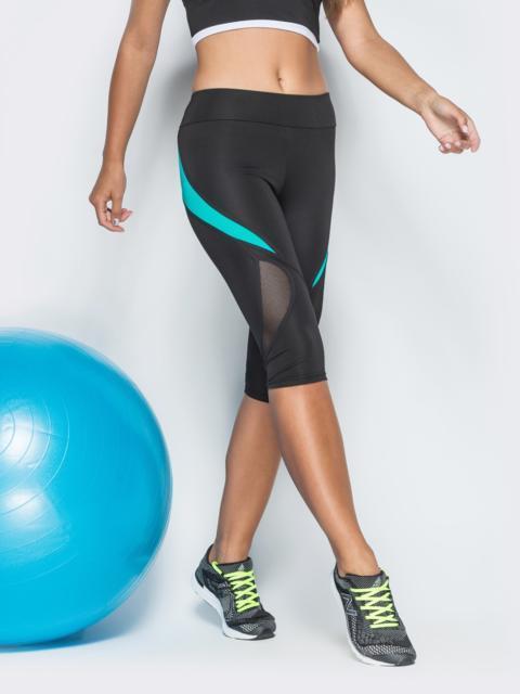 Спортивные бриджи с сеткой и бирюзовыми вставками чёрные - 38795, фото 1 – интернет-магазин Dressa