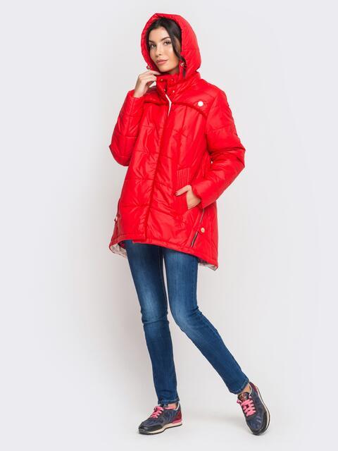 Зимняя куртка красного цвета с удлиненной спинкой - 15195, фото 1 – интернет-магазин Dressa
