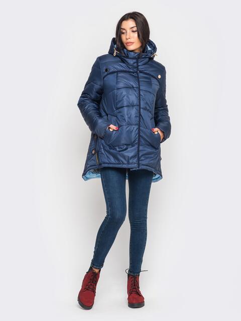 Зимняя куртка тёмно-синего цвета с удлиненной спинкой - 15196, фото 1 – интернет-магазин Dressa