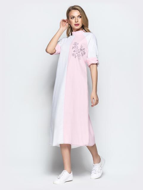 Бело-розовое платье-трапеция с авторской вышивкой - 21925, фото 1 – интернет-магазин Dressa