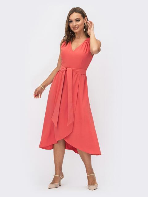 Коралловое платье приталенного кроя с V-образным вырезом 54145, фото 1
