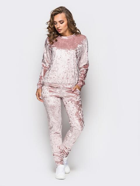 Костюм из велюра с карманами на брюках нежно-розовый - 13880, фото 1 – интернет-магазин Dressa