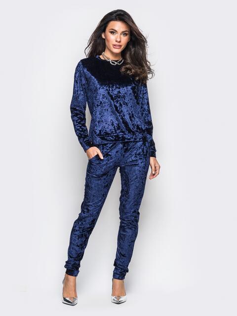 Костюм из велюра с карманами на брюках тёмно-синий - 13879, фото 1 – интернет-магазин Dressa
