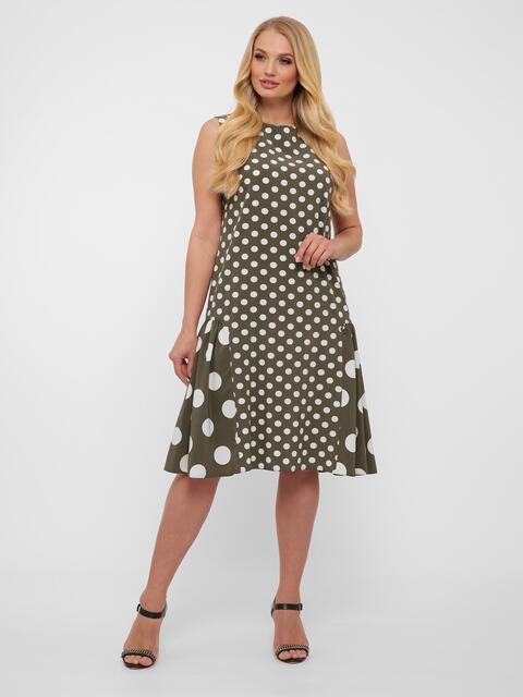 Платье большого размера цвета хаки в крупный горох  - 48571, фото 1 – интернет-магазин Dressa