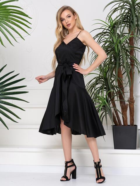 Платье на запах с воланом по низу чёрное 48777, фото 1