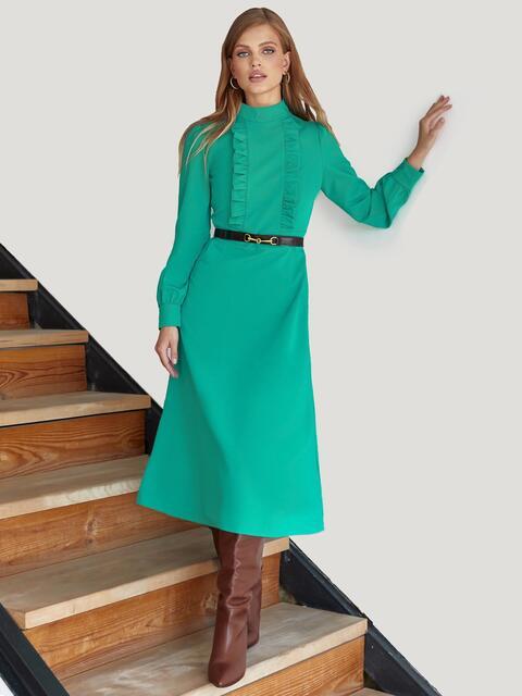 Платье с оборками и юбкой-трапецией бирюзовое 55144, фото 1
