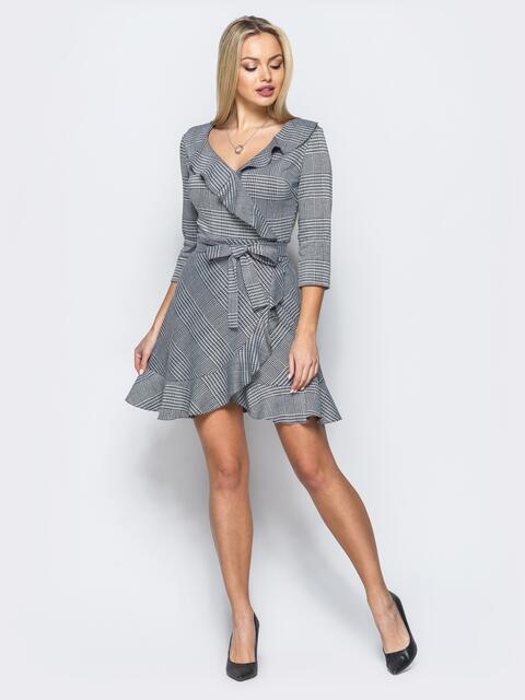 Платье серого цвета с имитацией запаха и молнией по спинке - 17637, фото 1 – интернет-магазин Dressa