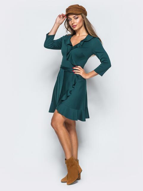 Платье зелёного цвета с имитацией запаха и молнией по спинке - 17639, фото 1 – интернет-магазин Dressa