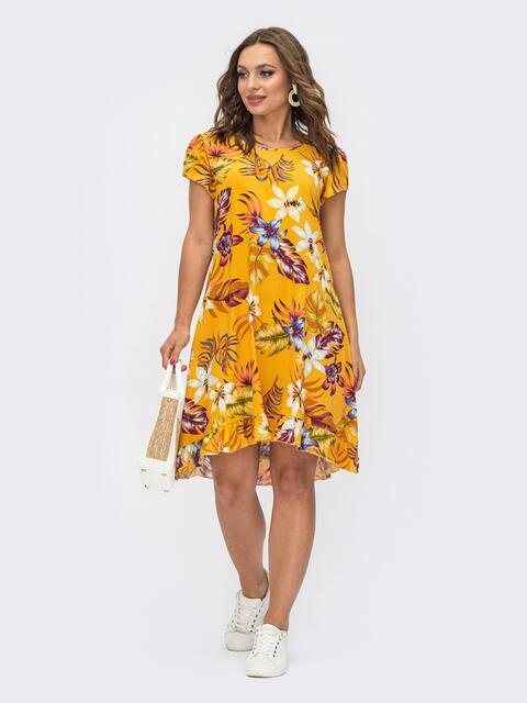 Принтованное платье с коротким рукавом желтое 54114, фото 1