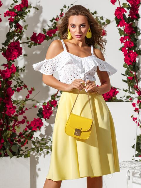 Расклешенная юбка желтого цвета - 39374, фото 1 – интернет-магазин Dressa