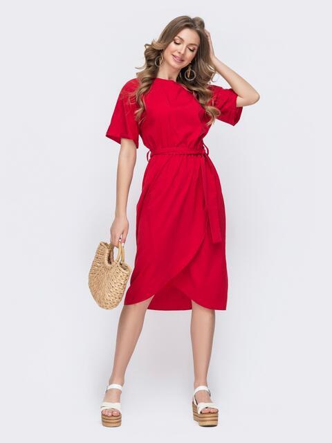 Расклешенное платье красного цвета из софта 47030, фото 1