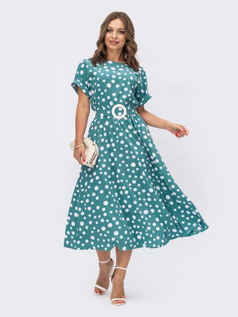 Расклешенное платье в горох с напуском по талии бирюзовое 54141, фото 1