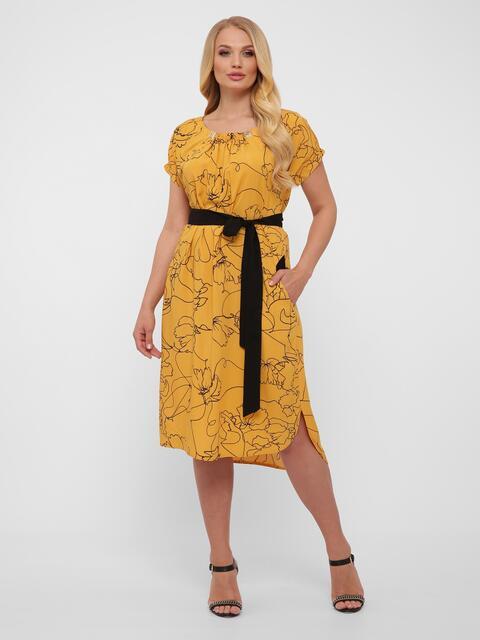 Желтое платье батал свободного кроя с закруглённым низом 48572, фото 1
