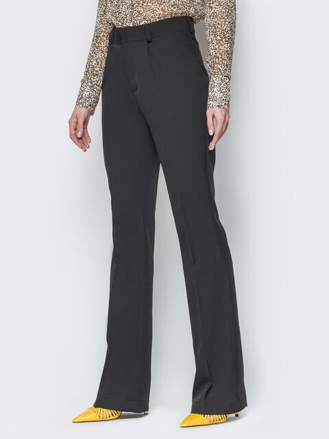 Чёрные брюки-клёш с высокой посадкой и стрелками - 20116, фото 1 – интернет-магазин Dressa