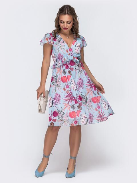 """Голубое платье из шифона с принтом и рукавом """"крылышко"""" 48078, фото 1"""