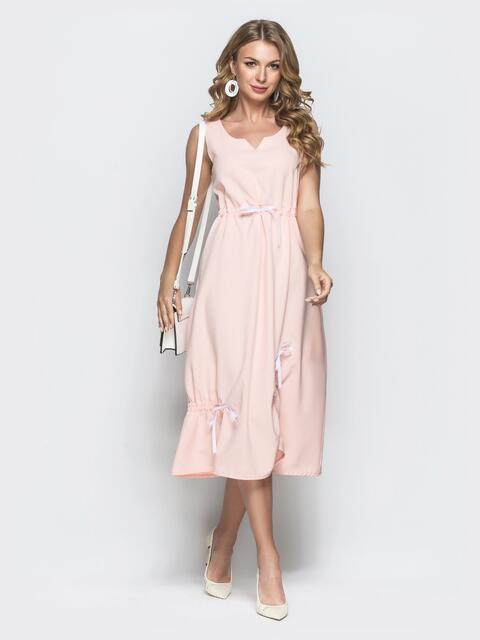 Льняное платье розового цвета - 39695, фото 1 – интернет-магазин Dressa