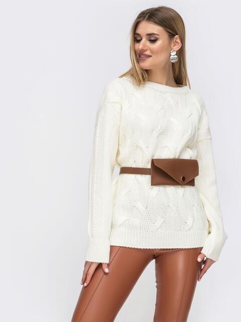 Молочный свитер с удлиненной спинкой - 43134, фото 1 – интернет-магазин Dressa
