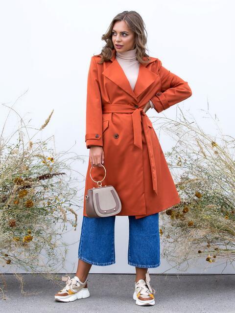 Плащ-тренч оранжевого цвета на подкладке - 40475, фото 1 – интернет-магазин Dressa
