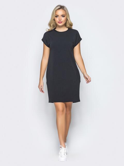 Платье свободного кроя без застёжек черного цвета - 16406, фото 1 – интернет-магазин Dressa