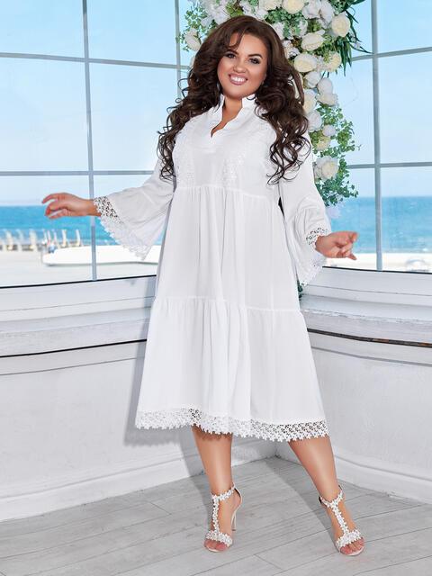 Свободное платье батал с завышенной талией белое 48646, фото 1