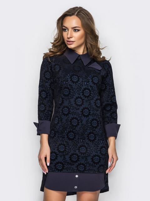 Тёмно-синее платье с принтом 30386, фото 1