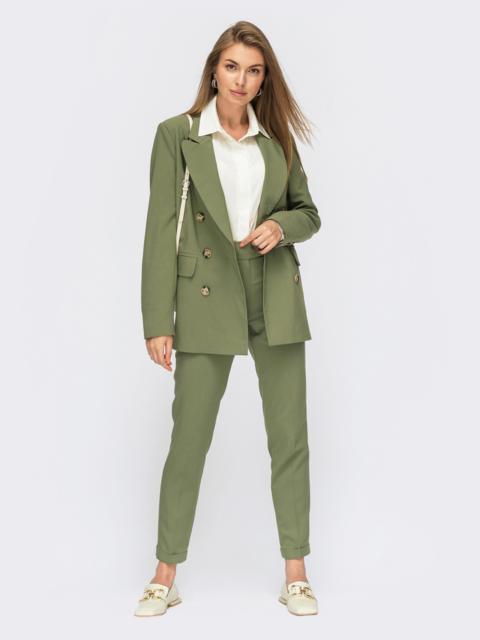 Зеленые зауженные брюки на молнии 54662, фото 3