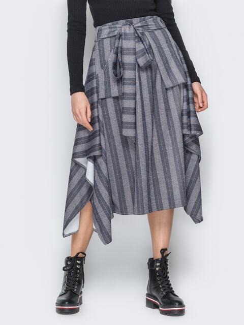 Асимметричная юбка в полоску с карманами серая - 20187, фото 1 – интернет-магазин Dressa