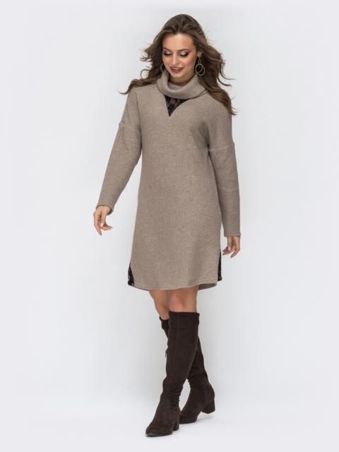 Бежевое платье с высоким воротником 44229, фото 1