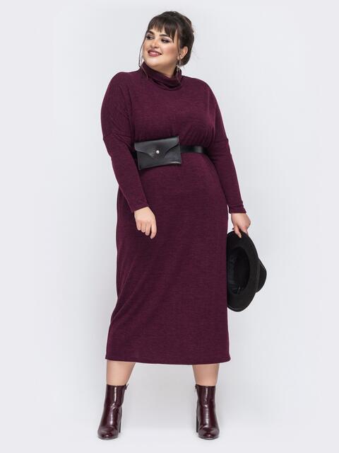 Бордовое платье большого размера с цельнокроеным рукавом 43417, фото 1
