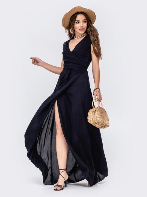 """Чёрное платье-макси на запах с рукавом """"крылышко"""". 48499, фото 1"""