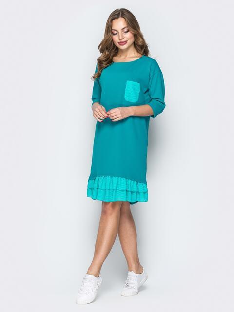 Голубое платье с двухъярусной оборкой на полочке - 20021, фото 1 – интернет-магазин Dressa