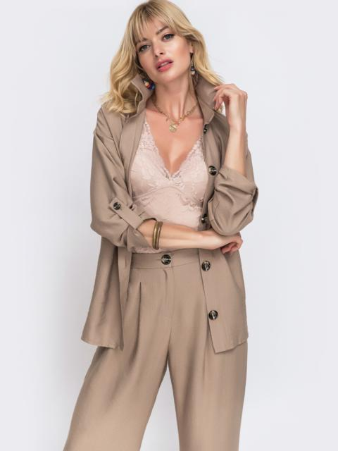 Комплект из рубашки со шлевками на рукавах и брюк бежевый - 49135, фото 1 – интернет-магазин Dressa