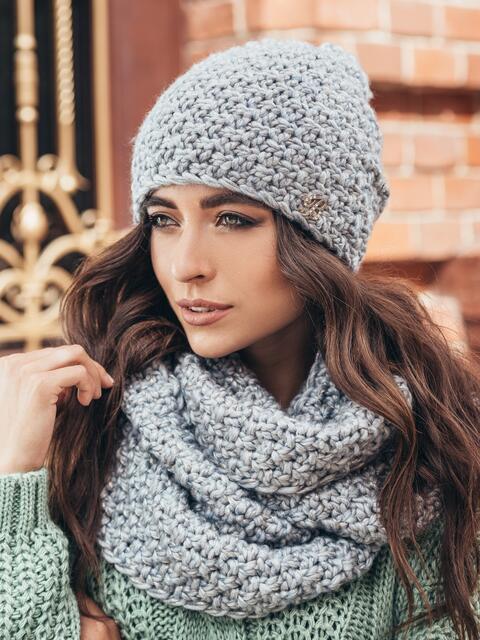 Комплект из шапки-колпак и хомута крупной вязки серый - 15549, фото 2 – интернет-магазин Dressa