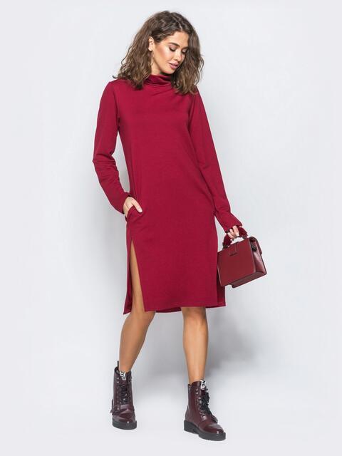 Платье из двунитки со змейкой на спинке бордовое - 17419, фото 1 – интернет-магазин Dressa